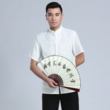 Chinese Tradtional Summer Tops Men Linen Short-Sleeves Shirt Size M-3XL