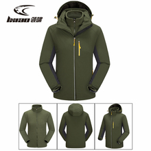 LXIAO Winter Jackets Men 2 Pieces Softshell Fleece Jacket Men Outdoor Waterproof Hiking Climbing Trekking Men Jacket Male Coat rax winter outdoor waterproof hiking jacket for men fleece windbreaker windproof softshell jacket men s thermal rain jackets men