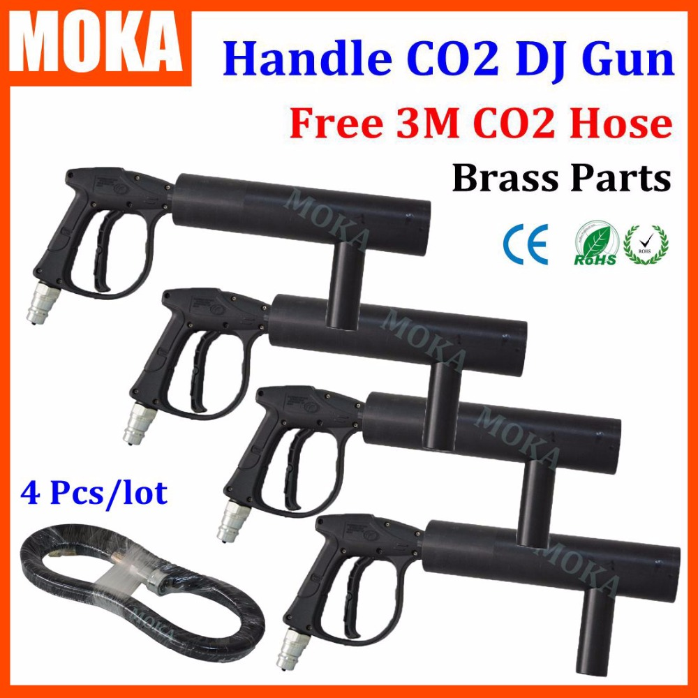Подробнее о 4PCS/lot CO2 Guns Handheld Co2 Cannon gun Blaster Special Effects DJ Party co2 jet machine stage Equipment handheld led co2 gun cryo led co2 jet machine pistol special effects co2 cannon guns free co2 gas hose