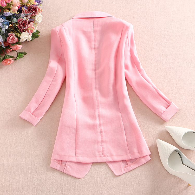 2019 Spring Summer Slim Fit Women Formal Jackets Office Work Notched Ladies Cotton Linen Blazer Coat Plus Size 3XL in Blazers from Women 39 s Clothing