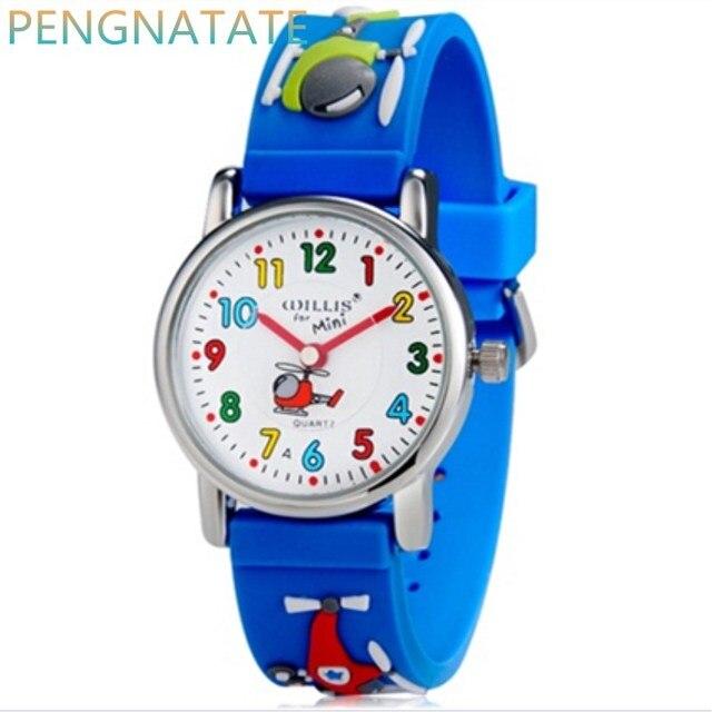 WILLIS Children Luxury Brand Watches Quartz Watch Analog 3D Elicopter Rubber Clo