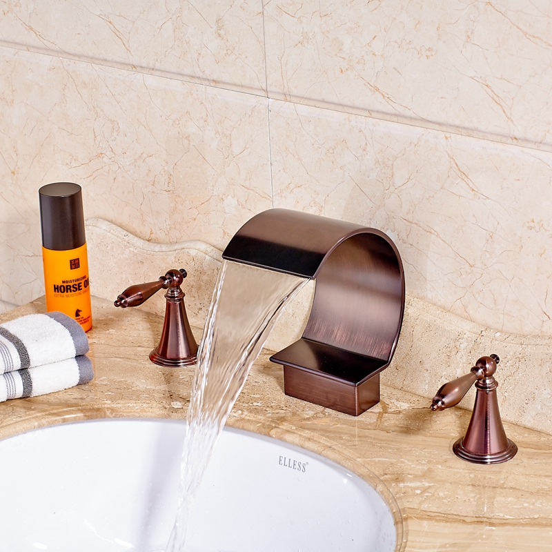 Newly Fashion Widespread Waterfall Tall Oil Rubbed Bronze Red Sink Mixer Tap Dual Handles Faucet Deck-Mounted new luxury oil rubbed bronze deck mounted waterfall basin faucet dual handles sink mixer tap