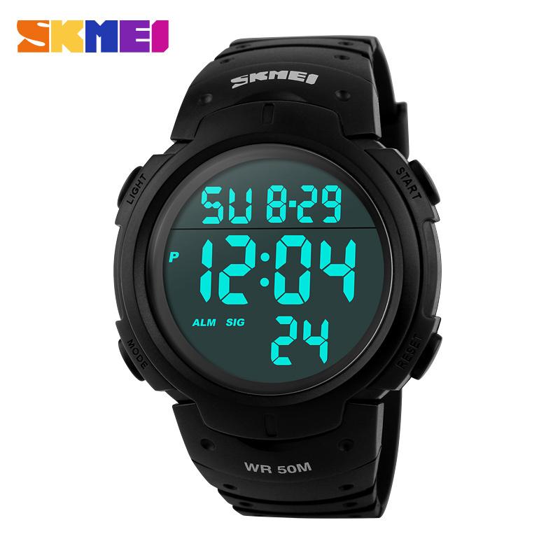 Prix pour Mode skmei marque hommes sport montres numérique led militaire montre de bain d'alarme en plein air montres casual chaude horloge nouveau 2017