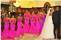 Fuchsia  mermaid bridesmaid dresses one-shoulder Taffeta with ruffles dresses for wedding party gowns