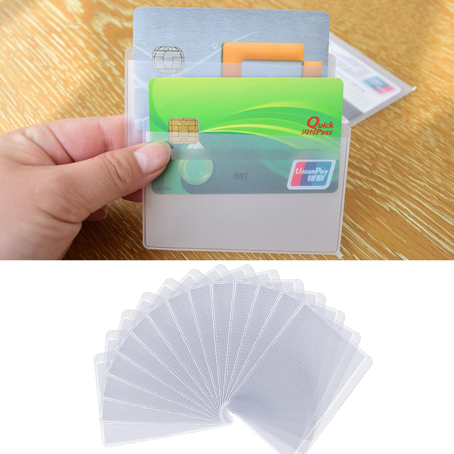 50PCS Matt Transparent RFID Blocking Anti Theft Credit Card Sleeve Holder Protector For Travel Business Trip Outdoor Use 9x6.5cm