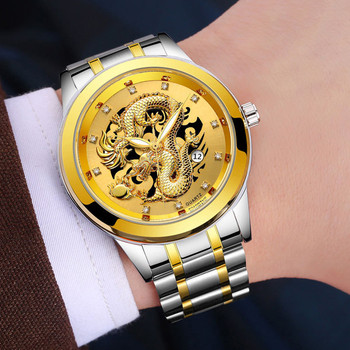 Luminous Mens Gold Dragon Sculpture Quartz Watch Luxury Wristwatch erkek kol saati montre homme zegarek meski heren horloge saat