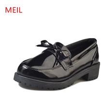 MEIL 2018 spring ladies shoes fashion round head high heels Patent leather female students British wind