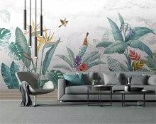 beibehang Custom silky stereo papel de parede 3d wallpaper Nordic small fresh tropical rainforest banana leaf garden background