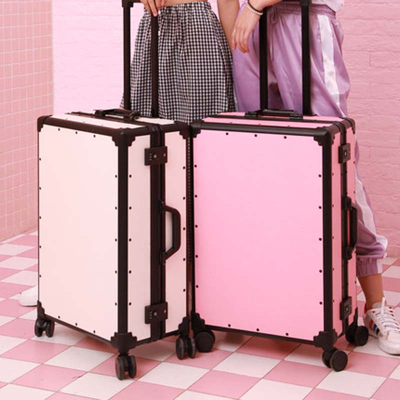 LeTrend Women Retro Rolling Luggage Spinner Cute Vintage Suitcase Wheels Men business Trolley Aluminum Frame Travel