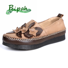 PEIPAH New Designer Cow Leather Oxfords Shoes For Women Flats Retro Shallow Slip On Flat Ladies tenis feminino