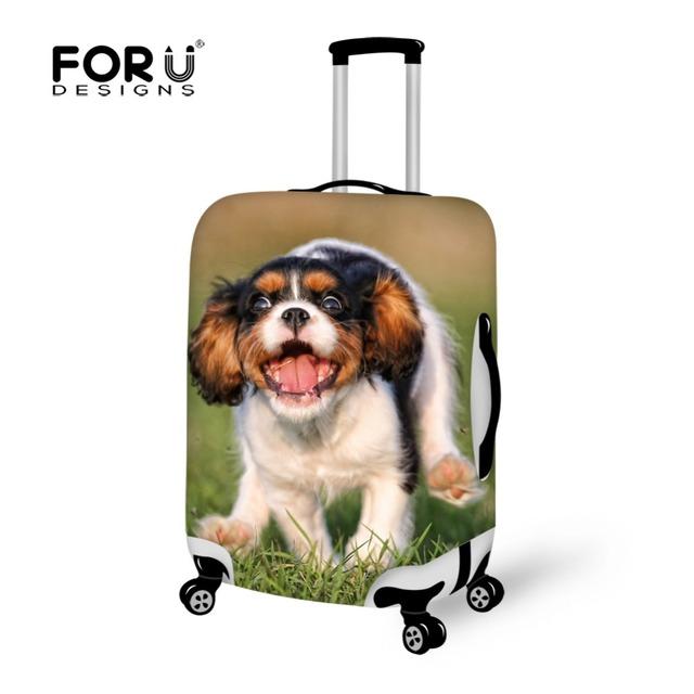 FORUDESIGNS 2016 Novo Design Bonito Do Cão de Impressão Bagagem Cobre, Fresco Elastic Mulheres Saco de Viagem Mala Capa Protetora