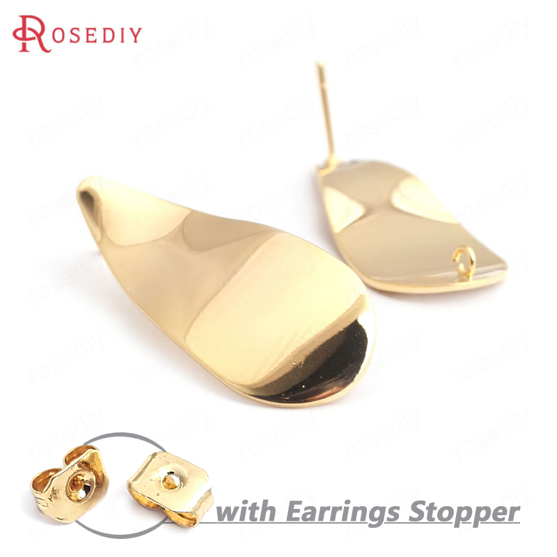 35248 10PCS 37x16MM 24K Gold Color Brass Wave Long Drop Shape Stud Earrings