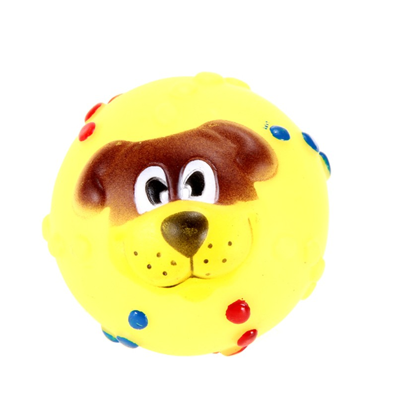 Funny Pet Dog Ball Toy Dog Face Sound Squeaky Toys Soft Rubber Chew Sound Ball Toys