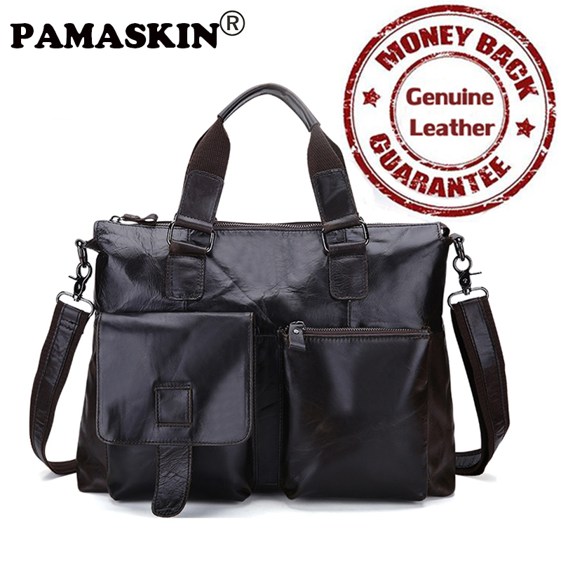 PAMASKIN Men Briefcase Genuine Leather Vintage Business Men Shoulder Bags 2018 Luxurious 100% Cowhide Laptop Bag Totes Handbags