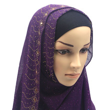 Fashion Woman hijab Solid Color Rhinestone Decoration Chiffon Silk Popular Shawls Scarf Headband Muslim Hijab Turban 13 Colors