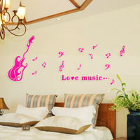 Rose Red Music Design Wall Sticker 3D Acrylic Wall Decor For Home Bedroom TV Sofa Background 1pcs Quality DIY Wall Stickers