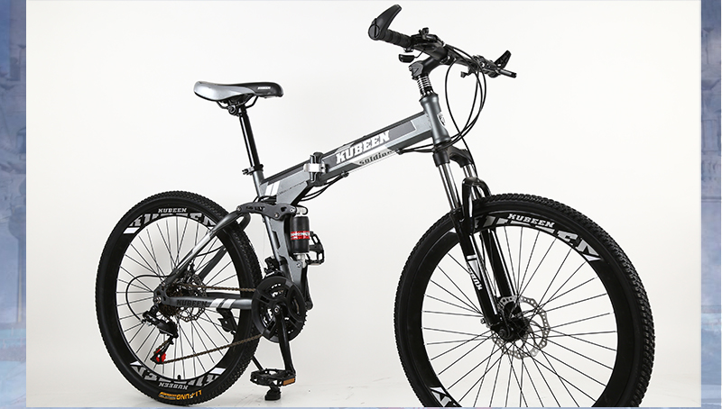HTB1nCu6cb5YBuNjSspoq6zeNFXaV KUBEEN 26inch folding mountain bike 21 speed double damping bicycle double disc brakes mountain bike