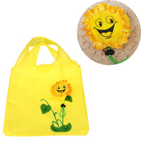 1 Pc Sun flower shopping bag Environment Eco-friendly folding reusable Portable Shoulder handle Bag Polyester for Travel Grocery Shopping Bags