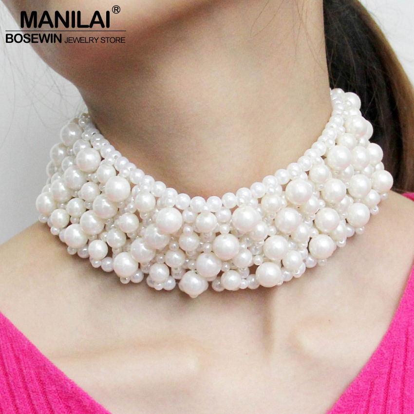 MANILAI Chunky Simulated Pears Chokers Beaded Choker Necklace For Women Collar Statement Necklace Maxi collier Clothes jewellry
