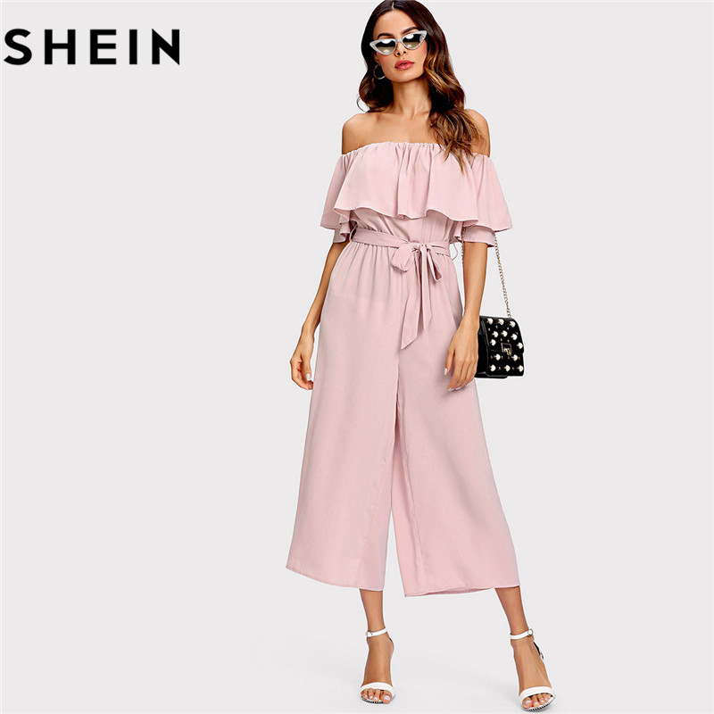 6e3504cf0b8 SHEIN Pink Off The Shoulder Flounce Belted Summer Women Jumpsuit 2018  Office Lady Work Solid Mid Waist Self Tie Culotte Jumpsuit-in Jumpsuits  from Women s ...