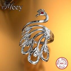 Tavuskuşu Yüzükler Antik 925 Ayar Gümüş Takı, Yüzük Hint Tarzı 3D Kadın, alyanslar AYARLANABILIR