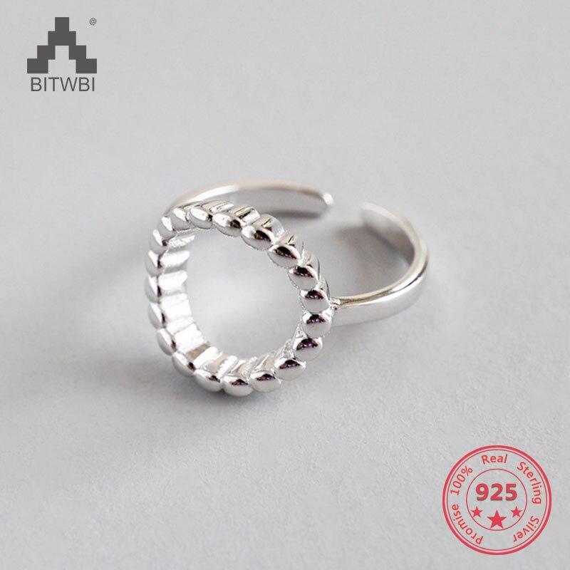 100% S925 Sterling Silber Mode & Persönlichkeit Aushöhlen Geometrische Einstellbare Ring