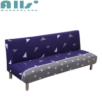 Blue And Grey Armless Couch Sofa Bed Covers For Living Room Removable Stretch Furniture Covers Elastic