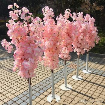 Colorful Artificial Cherry Blossom Tree Roman Column Road Leads Wedding Mall Opened Props Iron Art Flower Doors 36yl gg