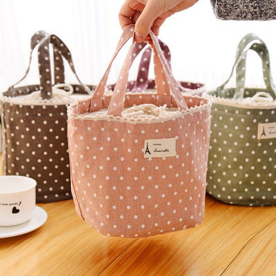 Lunch Bag Thermal Insulated Dot Eiffel Tower Lunch Box Cooler Bag Tote Bento Pouch Lunch Containe for student Picnic Bag