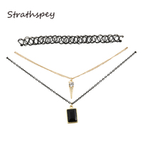 STRATHSPEY 3 Layers Lace Choker Necklaces Sexy Pendent Rhinestone Short Necklace Fashion Jewelry Women Girls Accessories Collar