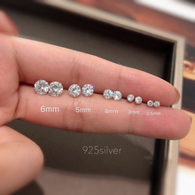 1 Pair 925 Sterling Stud Earrings For Women Cz Aaaa Zircon Ear Piercing Studs Jewelry Girl Party Gifts 2019 New Aros Brincos