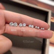 1 Pair 925 sterling silver Round Stud Earrings For Women CZ AAAA Zircon Ear Piercing Studs Jewelry Women Girl punk party Gifts недорого