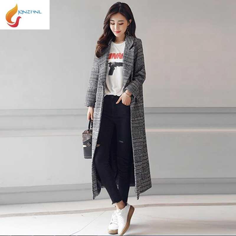 Jqnzhlnl 2019 nuevo otoño mujeres Turn Down Collar Delgado gabardina moda mujer medio largo Plaid Trenchcoats abrigo de lana L936