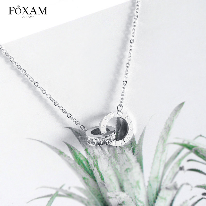 POXAM Luxury Elegant Crystal Choker Fashion Roman Digital Stainless Steel Gold Silver Color Pendant Necklaces for Women Jewelry 3