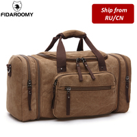 Men Travel Bag Canvas Multifunction Leather Bags Carry on Luggage Bag Men Tote Large Capacity Utility Weekend Overnight Bag|Travel Bags|   -