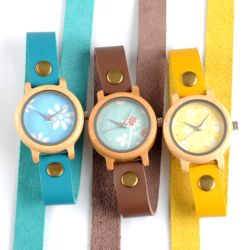 BOBO BIRD Bamboo Watches For Women New Fashion Created Reloje Mujer 2017 Colorful Long Leather Strap In Wood Box Bayan Saat