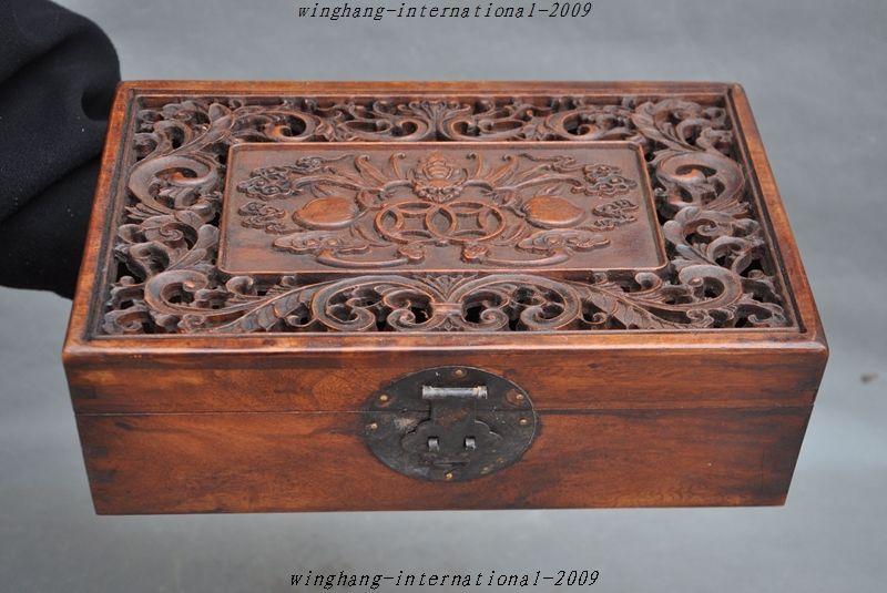 navidad china antigua huanghuali talladas a mano de madera caja de de cajas de joyas