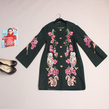 Vintage Coat 2016 New Autumn Winter Fashion Brand Women Full Sleeve High Quality Owl Squirrel Flower Embroidery Black Wool Coat