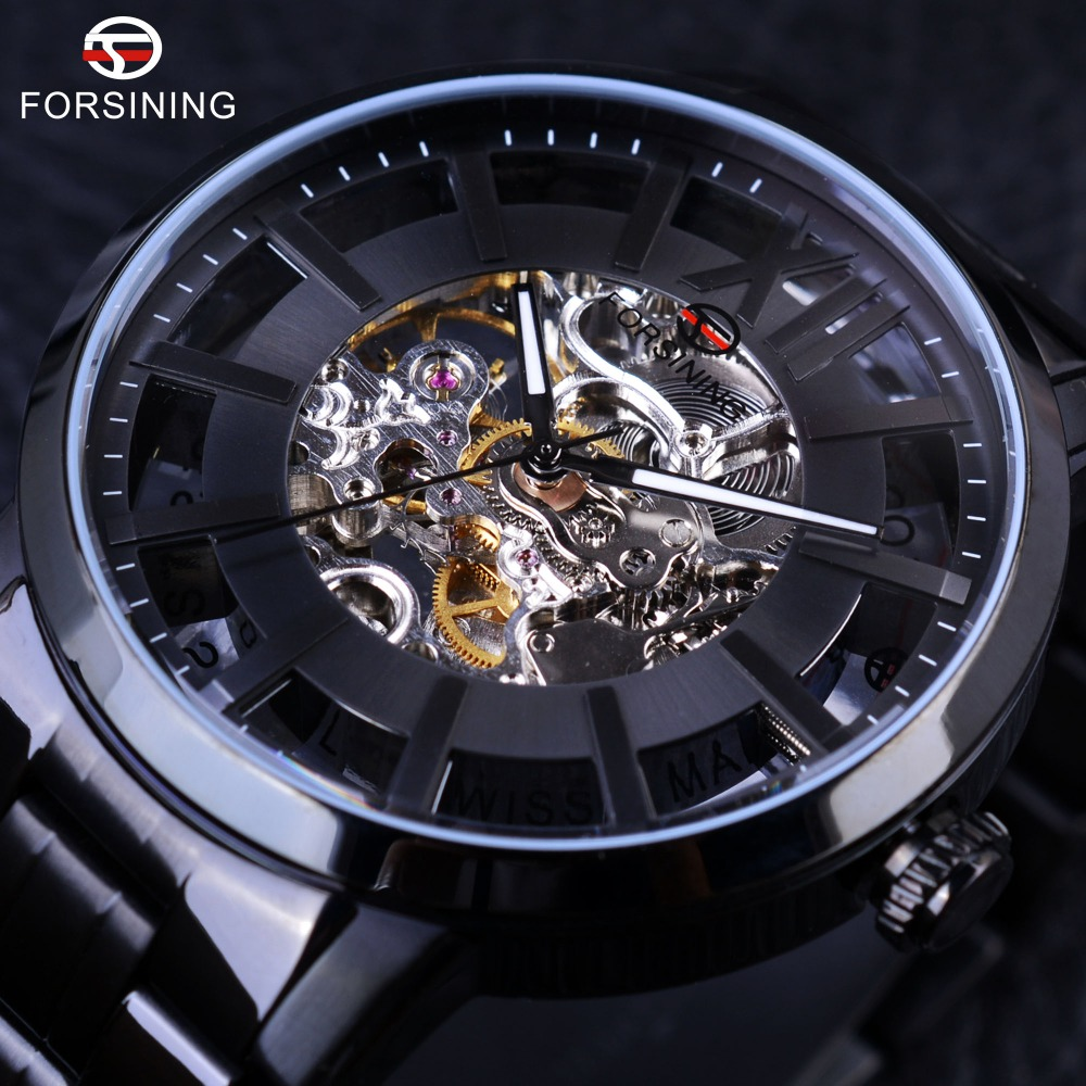 Forsining 2017 Transparent Case 316 Stainless Steel Water Resistance Mens Watches Top Brand Luxury Automatic Skeleton Wathces forsining 3d skeleton twisting design golden movement inside transparent case mens watches top brand luxury automatic watches