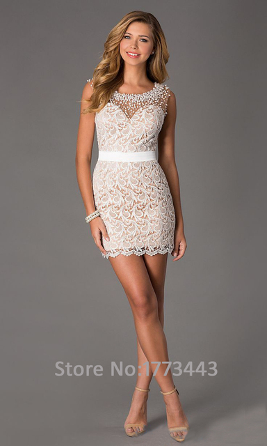 Elegant Sweetheart Tank Sleeveless Open Back Mermaid  Mini Pearls Beading Lace Cocktail Dress
