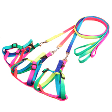 FopPet 2017 New Durable Rainbow Colors Pet Dogs Traction Ropes Puppy Training Nylon with Pet traction rope harness Dog Leash
