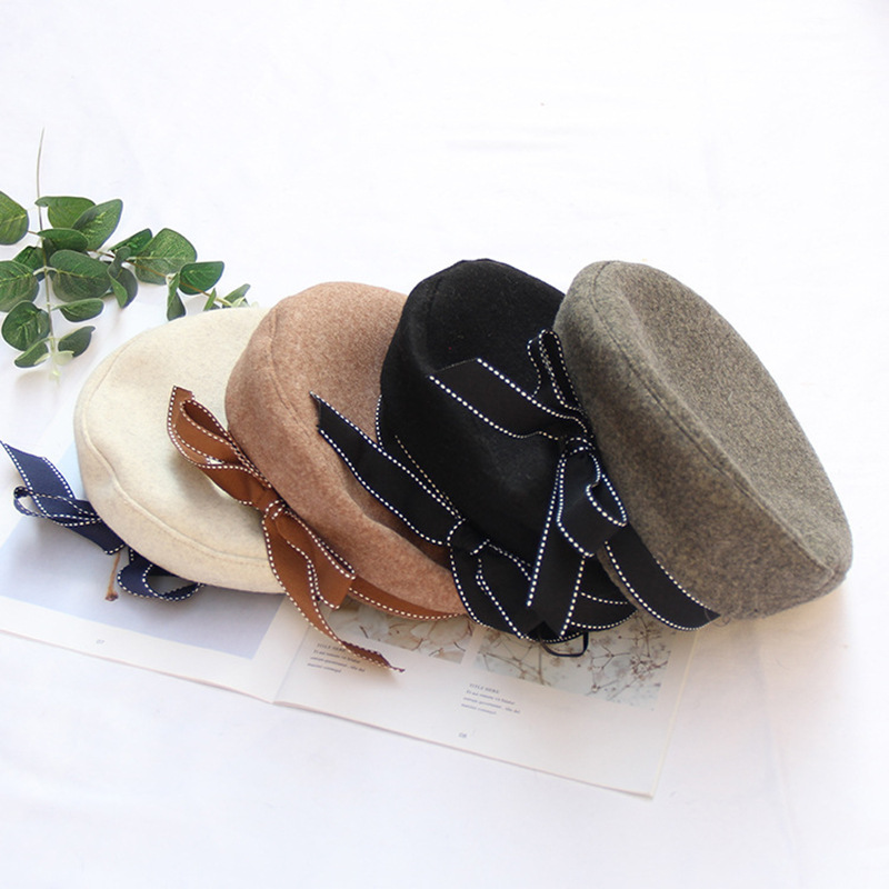 2019 Soft Flat Hats Wool Winter Beret Hats Women Painter Cap For Girls With Big Bow Flat Cap Solid Black Beret Hat Women 39 s Cap in Women 39 s Berets from Apparel Accessories