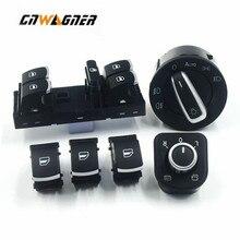 Chrome Side Mirror Headlamp Headlight Window Switch Button 6 PCS / set For Volkswagen CC Tiguan Passat B6 Golf 5