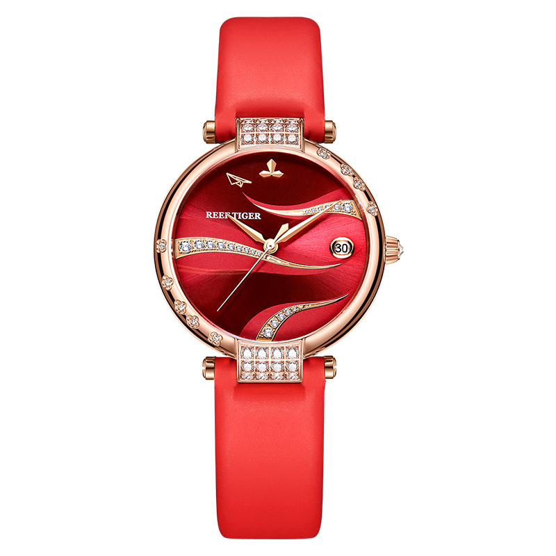 Reef Tiger automatic watch for women waterproof chic ladies mechanical watches dress luxury reloj <font><b>mujer</b></font> RGA1589 - leather/rubber image