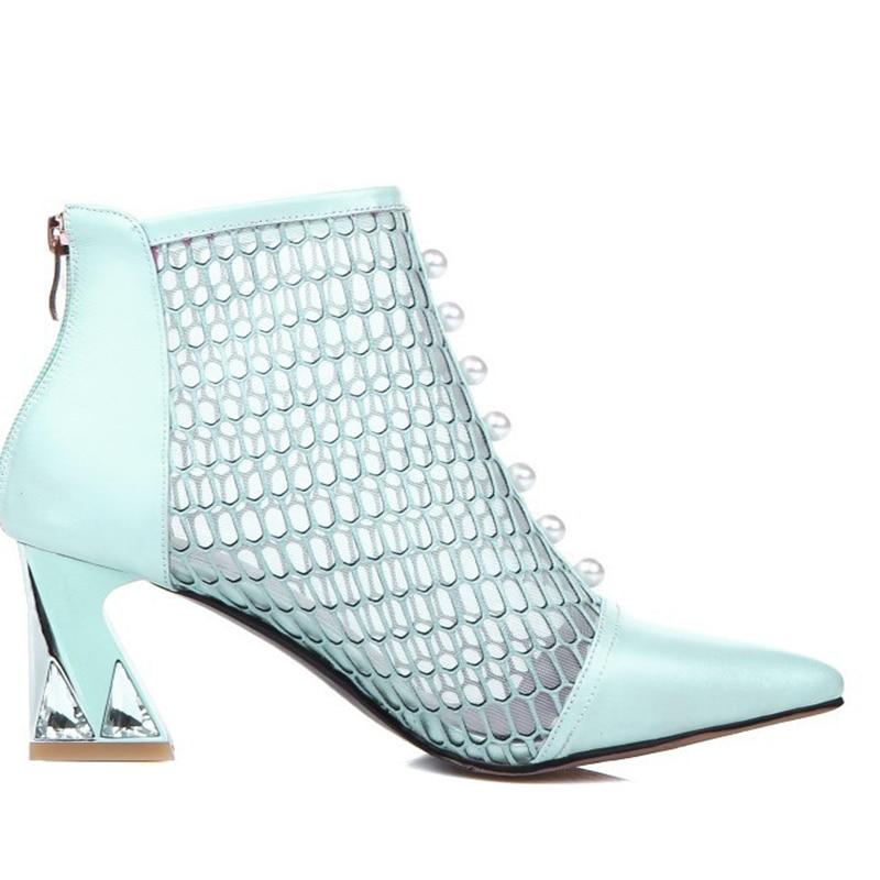 Натуральная кожа острый носок Гренадин на толстом среднем каблуке со стразами и жемчугом Для женщин летние сандалии до щиколотки сапоги пл...