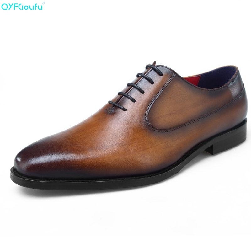 Brand 100% Genuine Leather Italian Formal Shoes Men Fashion Luxury Quality Handmade Designers Oxford