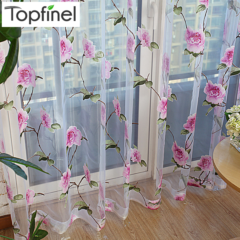 Topfinel New Sale floral tulle in sheer curtains for living room the bedroom kitchen shade window treatment curtain blinds panel