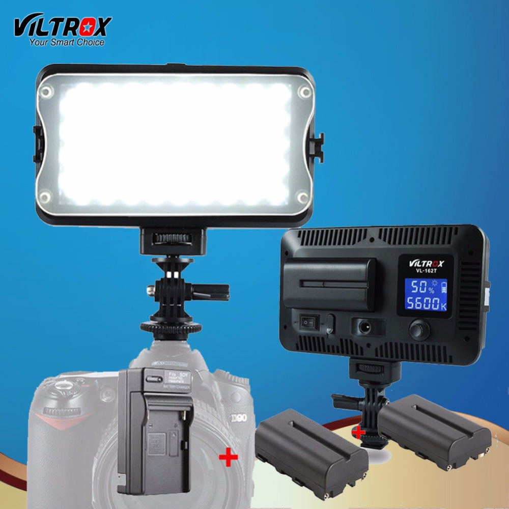 Viltrox VL-162T LED Studio Video Light Lamp LCD Display Bi-Color Dimmable For Wedding Canon Camera Camcorder+Battery+Charger 1 4 lcd 6 led white light video lamp for camera camcorder 4 x aa