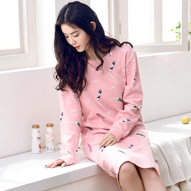 Autumn Spring   Nightgowns   For Women Long Sleeve Pink Stlye Nightwear Nightdress Pencil Print   Sleepshirt   Dress Sleep Pijama Mujer