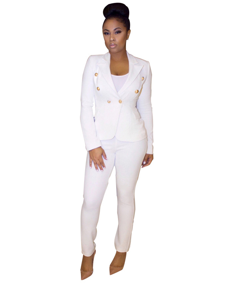 Black White Pants Suit Women Business Formal 2 Piece Pant Set Female (5) -